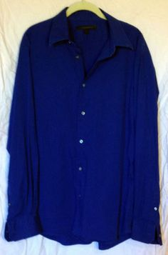 Men's Express Design Studio Dress Shirt Size XL Blue Cotton