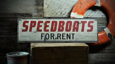Custom Speedboats For Rent Sign - Rustic Hand Made Vintage Wooden ENS1000719 #TheLiztonSignShop #RusticPrimitive