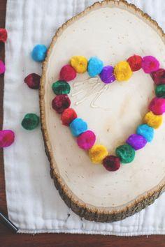 DIY Colorful Pompom Heart For Valetine's Day | Shelterness