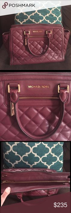 Michael Kors medium claret plum quilted Selma Gently loved. This purse is used so please check pics for wear. Noticeable flaws include a light stain on bottom of bag, scratched feet, light wear on leather loops that hold handles, and light staining inside bag (can be cleaned). Normal wear from use. 100% authentic. Pic of date code added. Love the burgundy/wine color. Comes with long strap. Very spacious and features extra zippered pocket on front. Top zip closure. Gold details. Super soft…
