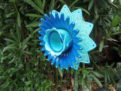 Glass Flower Garden Art Hand Painted in  Shades of Blue  - Glass Plate Flower - Suncatcher - Garden Sculpture - Yard Art - Garden Decor. $30.00, via Etsy.