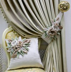 Luxury Curtains, Diy Curtains, Curtains With Blinds, Curtain Styles, Curtain Designs, Home Room Design, Home Design Decor, Fabric Flower Tutorial, Fabric Flowers