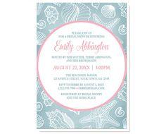 Beach Bridal Shower Invitations - Blue Seashell Pink by ArtisticallyInvited