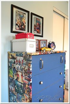 Love this idea....but paint the dresser blue and use the comics on the front of the drawers