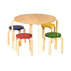 Awesome Kids Nordic Table U0026 Stool Set In Primary