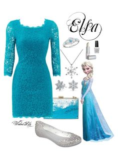 """""""Elsa from """"Frozen"""""""" by le-piano-argent ❤ liked on Polyvore featuring Skinnydip, Diane Von Furstenberg, Disney, Melissa, Bling Jewelry and OPI"""