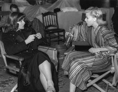 Katharine Hepburn & Ginger Rogers on the set of Stage Door, 1937.