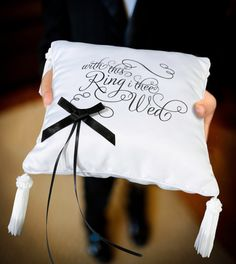 "With This Ring I Thee Wed Ring Bearer Pillow This classy white satin ring pillow has so many unique details. The words ""with this Ring I thee Wed"" are silk Ring Bearer Pillows, Ring Pillows, Wedding Pillows, Ring Pillow Wedding, Wedding Favors Unlimited, Lillian Rose, Lace Ring, Cushion Ring, Cushion Pillow"