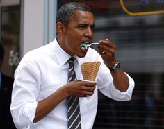 When the going gets tough, the President Barack Obama gets a delicious ice cream cone.