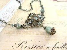 Sage Green Victorian Necklace  Antique Brass by ArdentHearts