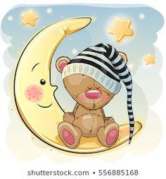 Illustration of Cute Cartoon Teddy Bear is sleeping on the moon vector art, clipart and stock vectors. Teddy Bear Cartoon, Cute Teddy Bears, Cute Cartoon, Penguin Cartoon, Batman Cartoon, Cartoon Crazy, Cartoon Turtle, Cartoon Eyes, Cartoon Unicorn