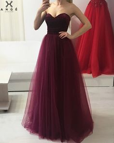 Rochii Banchet 2018 - Rochie Lunga Marsala Tulle - AngeAtelier.ro Strapless Dress Formal, Prom Dresses, Dress Prom, Formal Dresses, Costumes, Pretty, Attitude, Outfits, Clothes