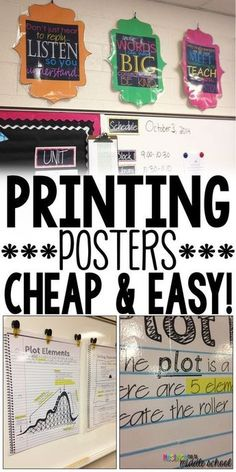 Did you know you can print big, beautiful posters for your classroom using your own computer and printer! Check out my easy tutorial and NEVER spend money again to decorate your room! ✳APPRENDRE LA PEINTURE FACILEMENT ET L'ART✳ Classroom Hacks, New Classroom, Classroom Setup, Science Classroom Decorations, Decorating High School Classroom, Computer Classroom Decor, Music Classroom Posters, English Classroom Posters, Apple Classroom