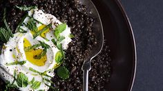 A dollop of Greek yogurt and mint lends cool creaminess to spiced black lentils.
