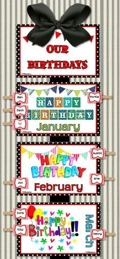 Clip chart for birthdays. Also includes travel plans clip chart and several informational signs. Birthday Bulletin Boards, Classroom Birthday, Birthday Wall, Disney Classroom, Classroom Signs, Classroom Setup, Birthday Board, Classroom Displays, Preschool Classroom
