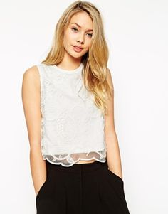 ASOS Crop Top With Premium Embroidery Overlay