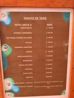 Melia Vallarta taxi rates. Taken April 2016
