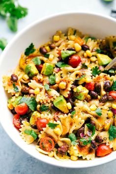 The ultimate BEST EVER MEXICAN PASTA SALAD with an easy delicious chili-lime vinaigrette. recipe from chelseasmessyapron.com