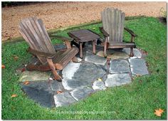 Stone inset in lawn for seating. This site has other great ideas