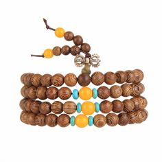 EVBEA Easter 6mm Wenge Prayer Beads Tibetan Buddhist Mala Buddha Bracelet Rosary Wooden Bangle Jewelry