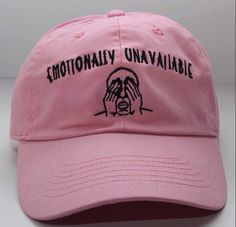 7aa04ff62b611 Emotionally Unavailable Pink Dad Hat - Freshtops Marketplace Dad Caps