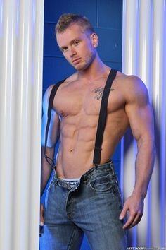 Naked guy in suspenders