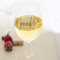 Schott Zwiesel Cru Classic Bordeaux wine glass personalized for bridal party