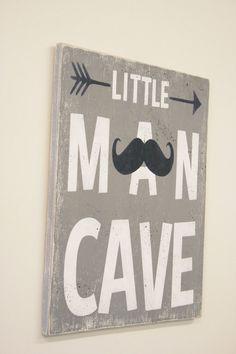 Little Man Cave Boys Nursery Decor Moustache Nursery Decor Tribal Nursery Gray and Navy Nursery Decor Baby Gift Handmade Wood Sign