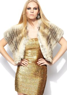 Belle Fare, Cropped Fox Fur Shrug. I like this...HOWEVER...i like animals so I'd go with faux fur!