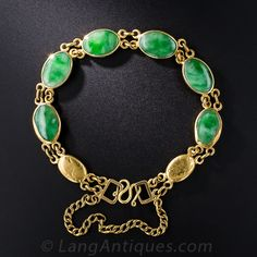 Six oval jade cabochons, displaying variegated bright green hues, are bezel-set and backed in rich yellow gold in this lovely Chinese bracelet dating from the middle of the last century. Chinese symbols are engraved on the reverse. Jade Necklace, Jade Bracelet, Jade Jewelry, Bangle Bracelets, Green And Gold, Bright Green, Antique Jade, Jade Ring, Chinese Symbols