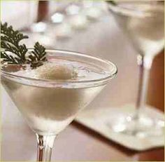 snowball martini - 1 ounces citron vodka with 1 ice cream scoop of douglas fir sorbet. Christmas Cocktails, Holiday Drinks, Party Drinks, Cocktail Drinks, Fun Drinks, Yummy Drinks, Yummy Food, Christmas Martini, Beverages