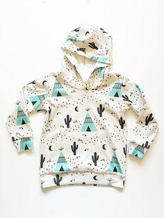 Organic baby hoodie in teepee print, so cute!
