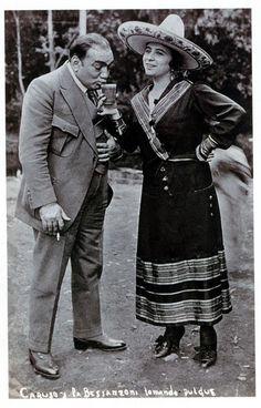 """Enrico Caruso y Gabriela Besanzoni en Xochimilco (""""Caruso y La Bessanzoni tomando pulque"""")"""