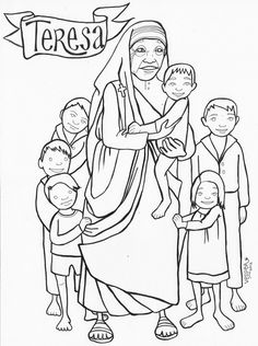 Coloring page of Mother Teresa for Catholic kids | Catholic Coloring ...