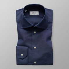 Marinblå Flanellskjorta med High Cut Away-krage - Slim fit | Eton Shirts Sverige