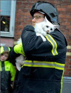 Kittie and firefighter