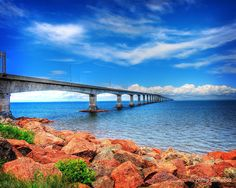 the 8 mile long Confederation Bridge connects the island province of Prince Edward Island (PEI) to mainland from coast of the province of New Brunswick, Canada. Beautiful Islands, Beautiful Places, Places To Travel, Places To See, Travel Destinations, East Coast Travel, Canadian Travel, Atlantic Canada, Prince Edward Island
