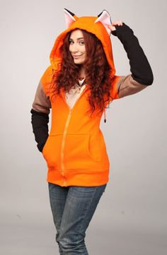 """Beast Hoodie """"Fox"""" In stock - both female and men versions. Hoodie """"Fox"""" - means the spirit of naughtiness and fun. An ordinary s. Raincoat Outfit, Hoodie Outfit, Maquillage Halloween, Teacher Style, Animal Fashion, Etsy, Hoodies, My Style, Dream Closets"""