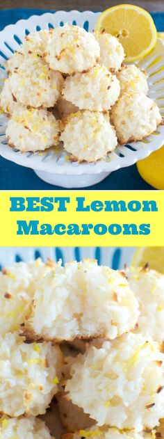 The BEST Lemon Macaroons 4 ingredients. Lemon Dessert Recipes, Easy Cookie Recipes, Lemon Recipes, Coconut Desserts, Aloo Recipes, Macaroon Recipes, Coconut Cookies, Lemon Cookies, Coconut Recipes