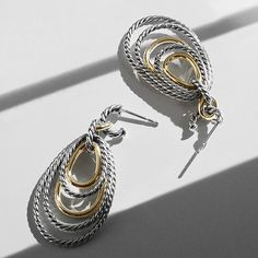 Mobile drop earrings in sterling silver and 14k gold.