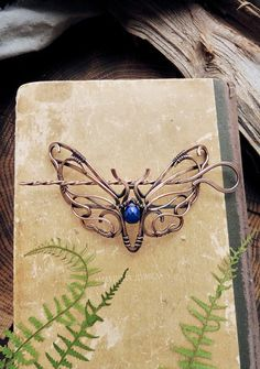 Unique and very comfortable hair stick with natural Lapis lazuli. It has a shape of butterfly moth in Art Nouveau style. This hairpin can be used for different types of hairstyles. The size of the pin - 6 х 10 cm (2 1/2 x 3 1/2 inches). Jewelry will come to you in a gift box. This will