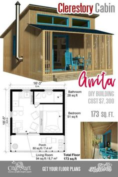Small cabin plans for Anita. This small cabin is a good choice for a vacation home. Small cabin plans for Anita. This small cabin is a good choice for a vacation home. Small Cabin Plans, Small House Floor Plans, Cabin Floor Plans, Tiny Cabins, Tiny House Cabin, Tiny House Design, Cabins And Cottages, Cabin Design, The Plan