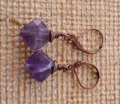 Faceted Amethyst Wirewrapped Dangle Earrings $22 www.revolutionarity.com
