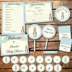 """Peter Rabbit Vintage Style Baby Shower or Birthday by SonnyandJack, $15.00 - @Marcie Henry I like the """"wishes for baby"""" on the peter rabbit stationary."""