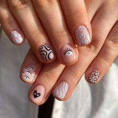 Best Acrylic Nails, Acrylic Nail Designs, Shellac Designs, Simple Acrylic Nails, Short Nail Designs, Funky Nail Designs, Funky Nail Art, Cute Simple Nail Designs, Nail Designs Bling