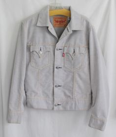 Levis Strauss Jacket Sz Med Corduroy Light Gray Iconic Motorcycle Mens Hipster  #Levis #Motorcycle