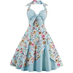 CharMma Women's Vintage Halter Rockabilly Swing Floral Print Tea... ❤ liked on Polyvore featuring dresses, blue halter dress, blue dress, vintage rockabilly dresses, vintage floral dress and vintage cocktail dresses
