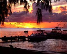 Photo: A absolutely STUNNING sunset photo take from the Oualie Beach Resort Hotel. The sunset was particularly red as ash was in the atmosphere from #Nevis' neighbor island of Montserrat suffering another volcanic eruption. Circa 2007
