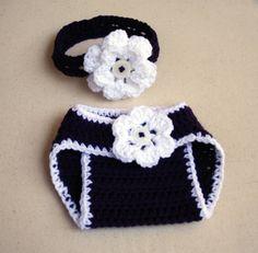 Newborn baby crochet flower diaper cover and headband set