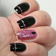 Best nail art designs collect it myself 2018 , Craving some nail art in your life? You're at the proper place. Nail art is improbably fun and may boost your mood instantly… even on all day morning. There's simply one thing concerning superbly painted nail May Nails, Pink Nails, Hair And Nails, Elegant Nail Designs, Best Nail Art Designs, Glitter Nail Art, Toe Nail Art, Black Nails With Glitter, Nail Nail